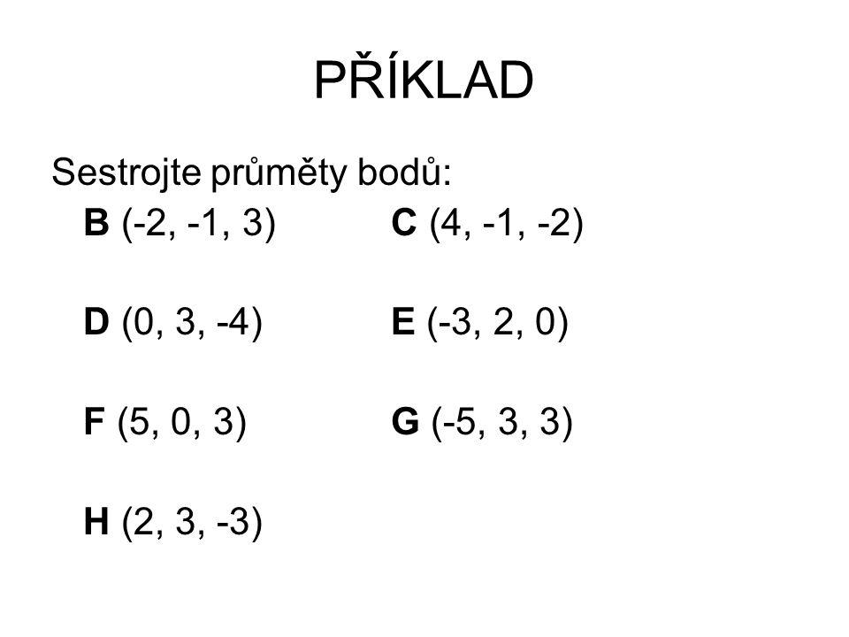 PŘÍKLAD Sestrojte průměty bodů: B (-2, -1, 3)C (4, -1, -2) D (0, 3, -4)E (-3, 2, 0) F (5, 0, 3)G (-5, 3, 3) H (2, 3, -3)