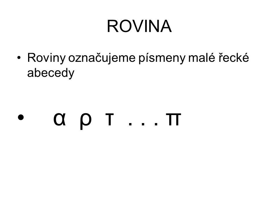 ROVINA Roviny označujeme písmeny malé řecké abecedy α ρ τ... π