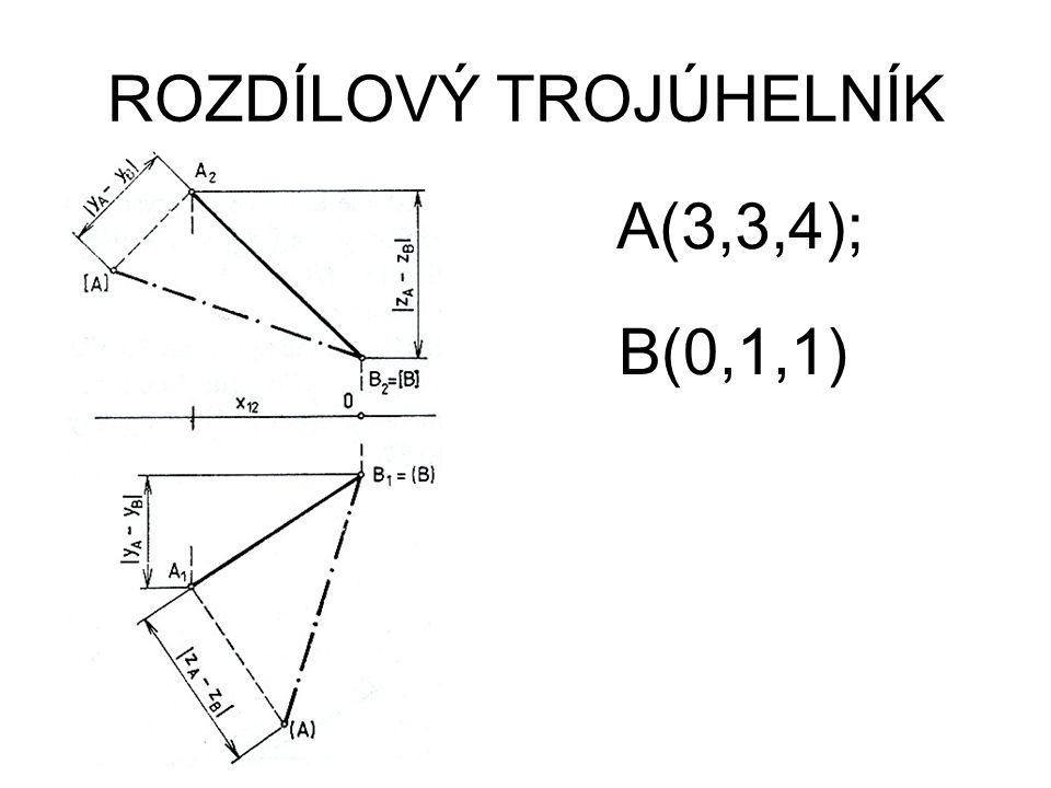 ROZDÍLOVÝ TROJÚHELNÍK A(3,3,4); B(0,1,1)