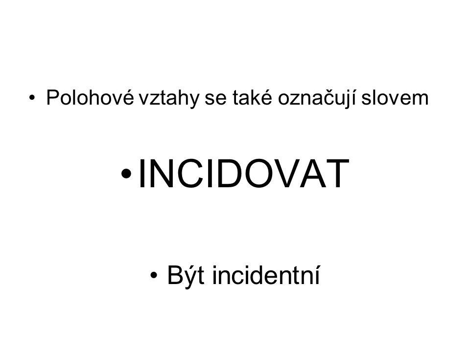 Polohové vztahy se také označují slovem INCIDOVAT Být incidentní