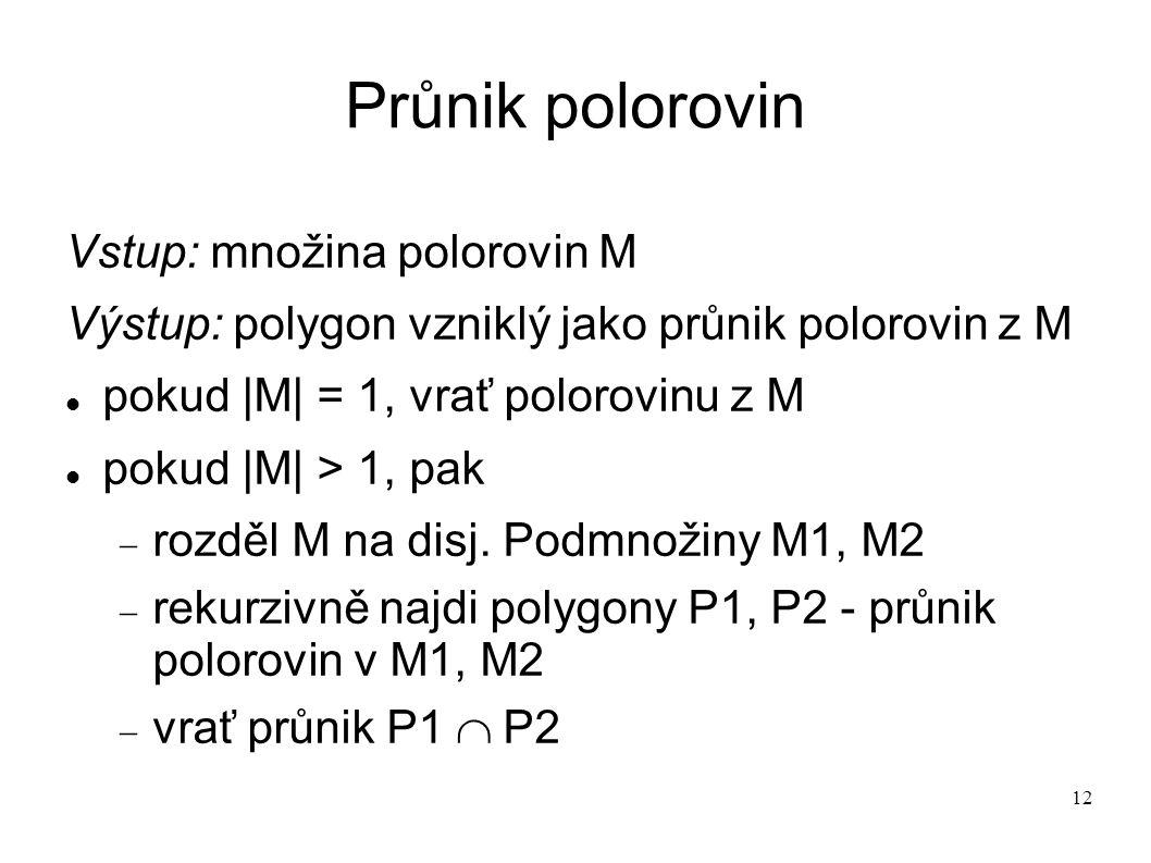 12 Průnik polorovin Vstup: množina polorovin M Výstup: polygon vzniklý jako průnik polorovin z M pokud |M| = 1, vrať polorovinu z M pokud |M| > 1, pak