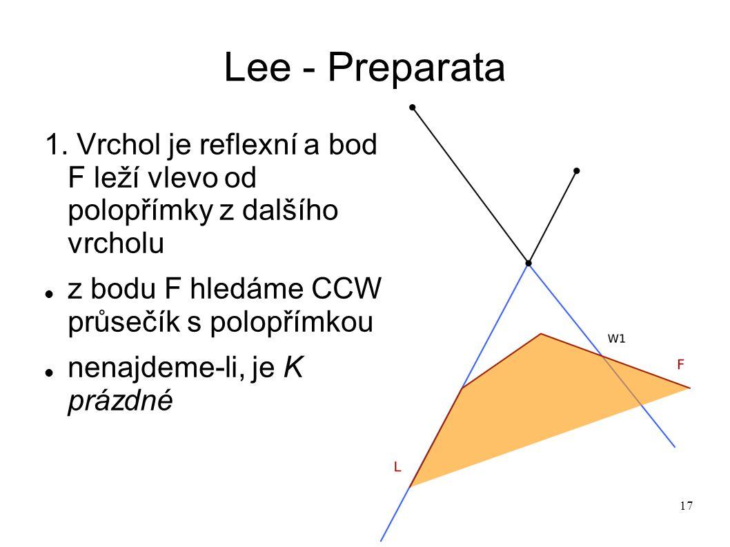 17 Lee - Preparata 1. Vrchol je reflexní a bod F leží vlevo od polopřímky z dalšího vrcholu z bodu F hledáme CCW průsečík s polopřímkou nenajdeme-li,