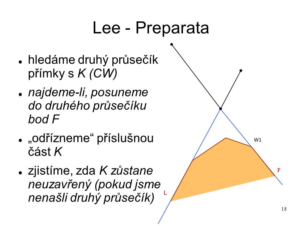 """18 Lee - Preparata hledáme druhý průsečík přímky s K (CW) najdeme-li, posuneme do druhého průsečíku bod F """"odřízneme příslušnou část K zjistíme, zda K zůstane neuzavřený (pokud jsme nenašli druhý průsečík)"""