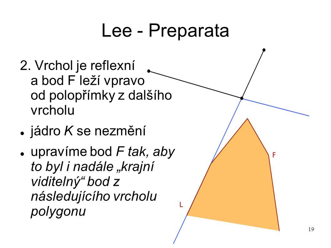 19 Lee - Preparata 2. Vrchol je reflexní a bod F leží vpravo od polopřímky z dalšího vrcholu jádro K se nezmění upravíme bod F tak, aby to byl i nadál