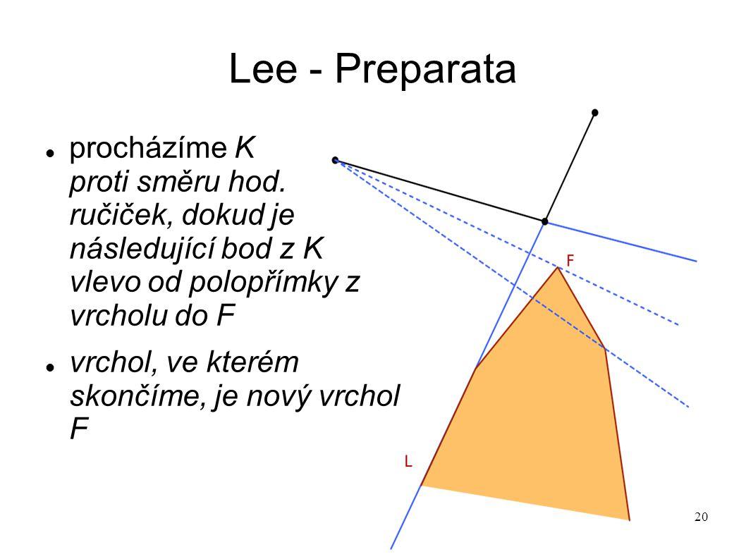 20 Lee - Preparata procházíme K proti směru hod. ručiček, dokud je následující bod z K vlevo od polopřímky z vrcholu do F vrchol, ve kterém skončíme,