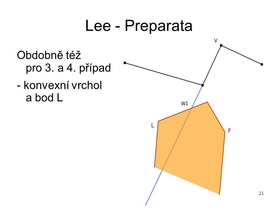 21 Lee - Preparata Obdobně též pro 3. a 4. případ - konvexní vrchol a bod L
