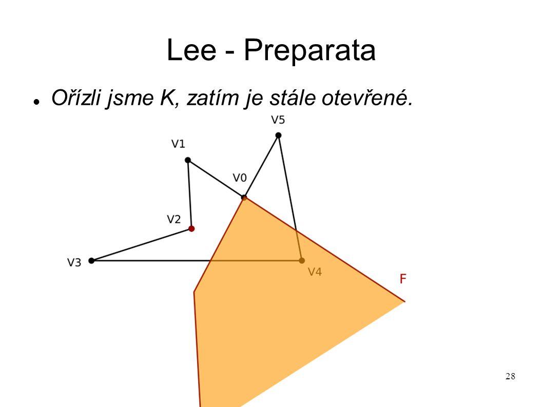 28 Lee - Preparata Ořízli jsme K, zatím je stále otevřené.