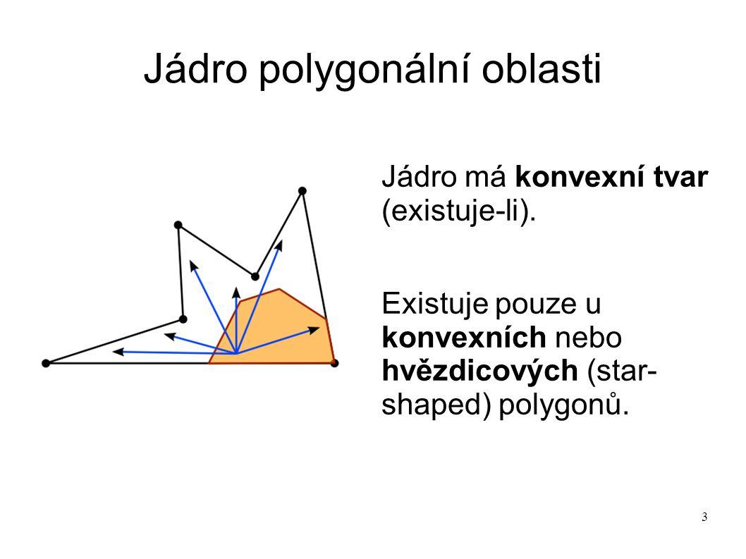 3 Jádro polygonální oblasti Jádro má konvexní tvar (existuje-li). Existuje pouze u konvexních nebo hvězdicových (star- shaped) polygonů.