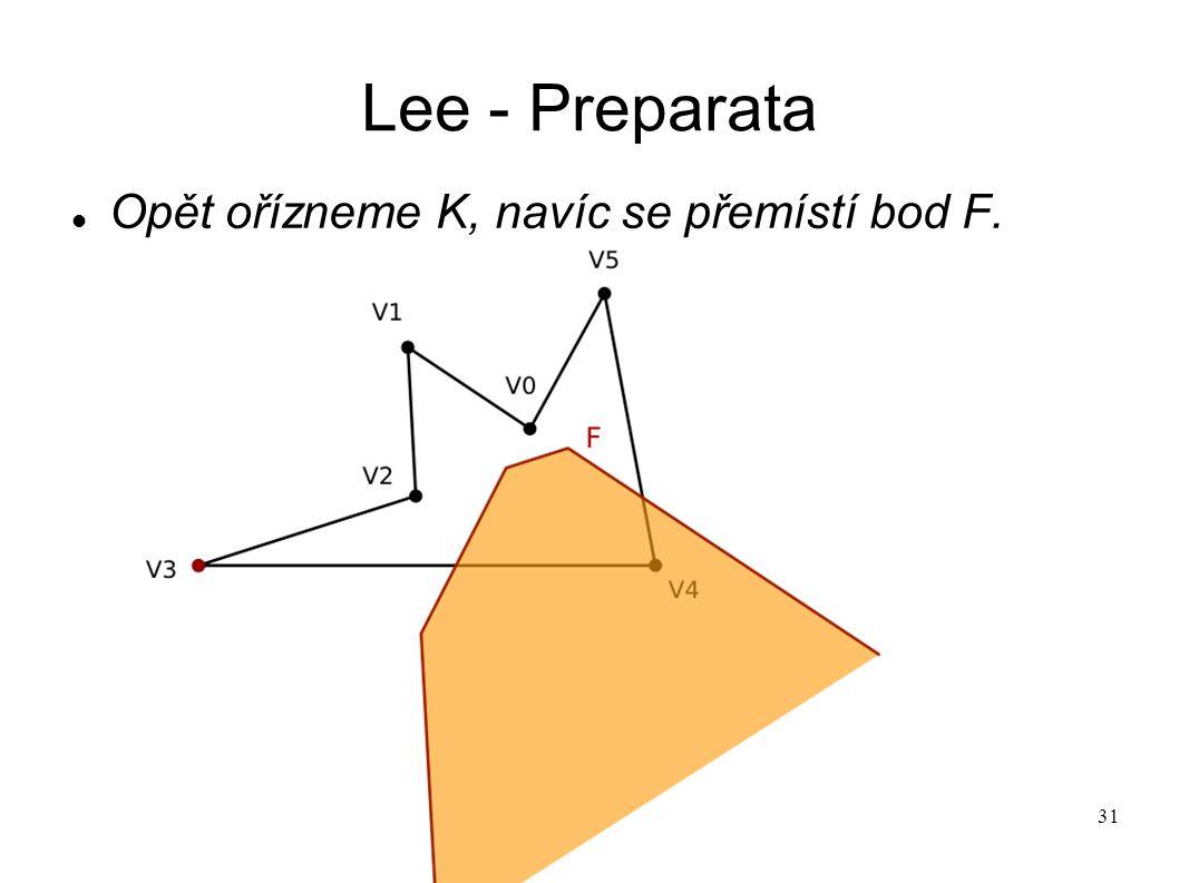 31 Lee - Preparata Opět ořízneme K, navíc se přemístí bod F.