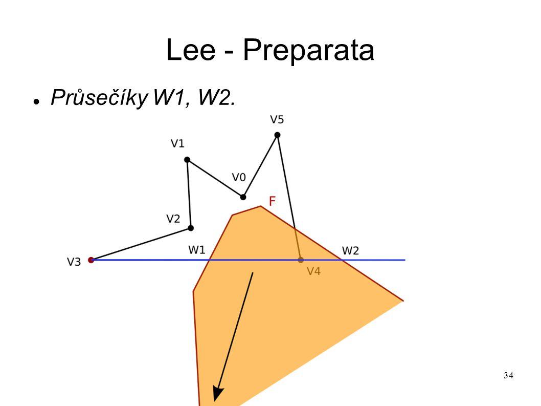 34 Lee - Preparata Průsečíky W1, W2.