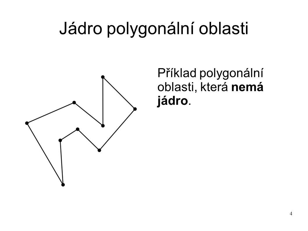 4 Jádro polygonální oblasti Příklad polygonální oblasti, která nemá jádro.