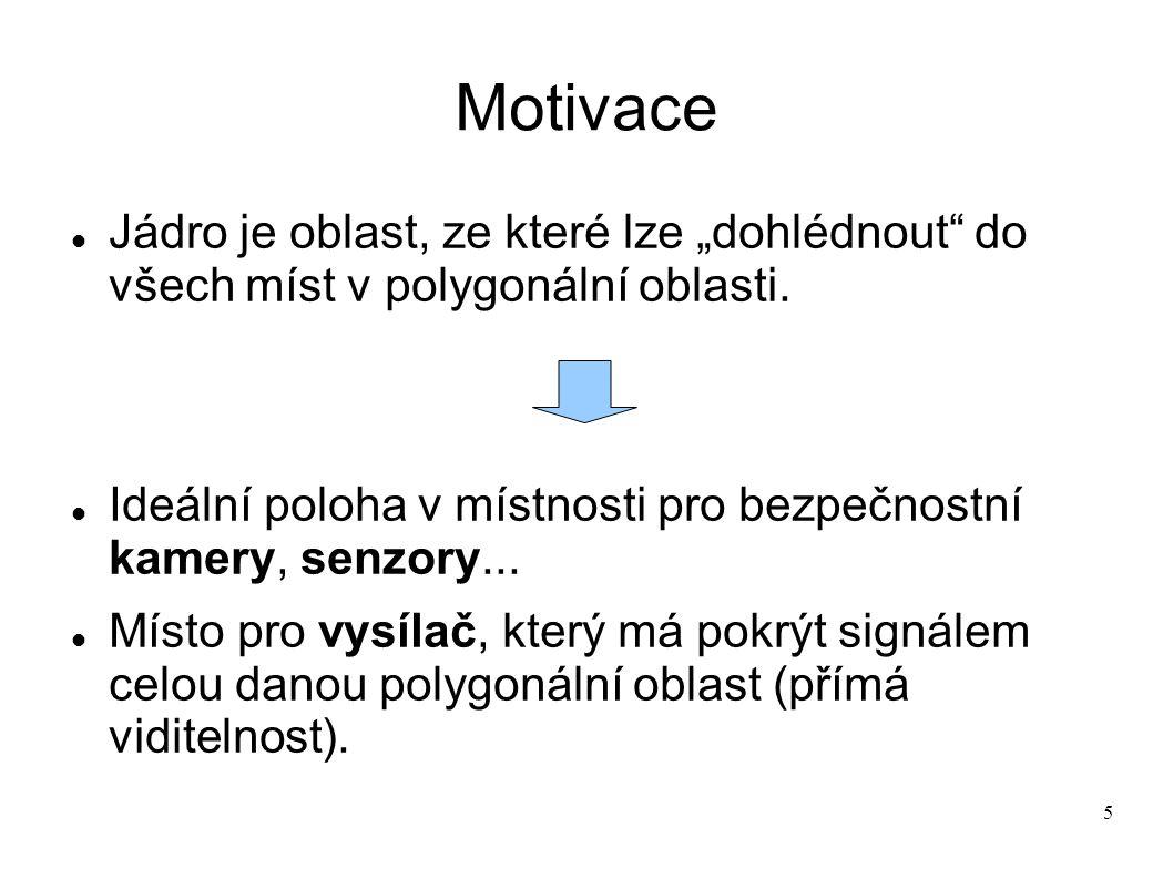 """5 Motivace Jádro je oblast, ze které lze """"dohlédnout"""" do všech míst v polygonální oblasti. Ideální poloha v místnosti pro bezpečnostní kamery, senzory"""