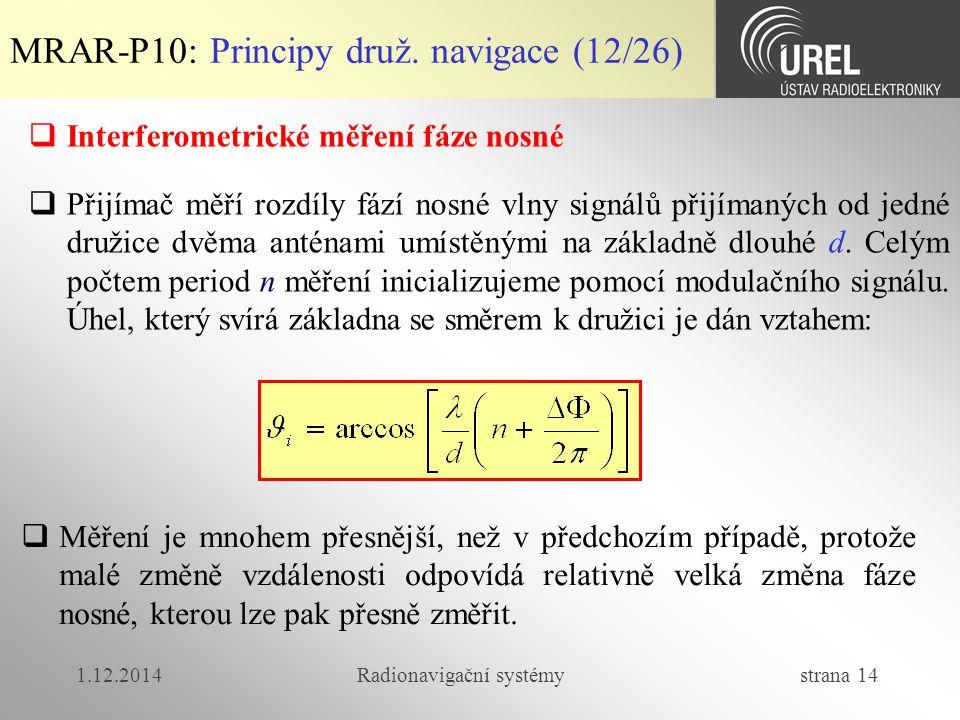 1.12.2014Radionavigační systémy strana 14 MRAR-P10: Principy druž. navigace (12/26)  Interferometrické měření fáze nosné  Měření je mnohem přesnější