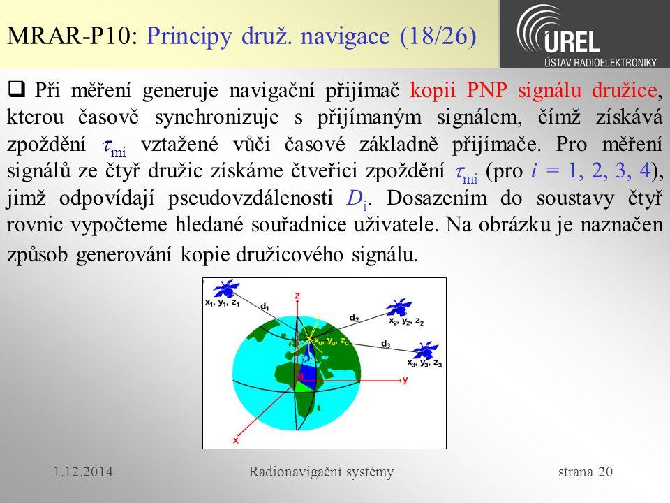 1.12.2014Radionavigační systémy strana 20 MRAR-P10: Principy druž. navigace (18/26)  Při měření generuje navigační přijímač kopii PNP signálu družice