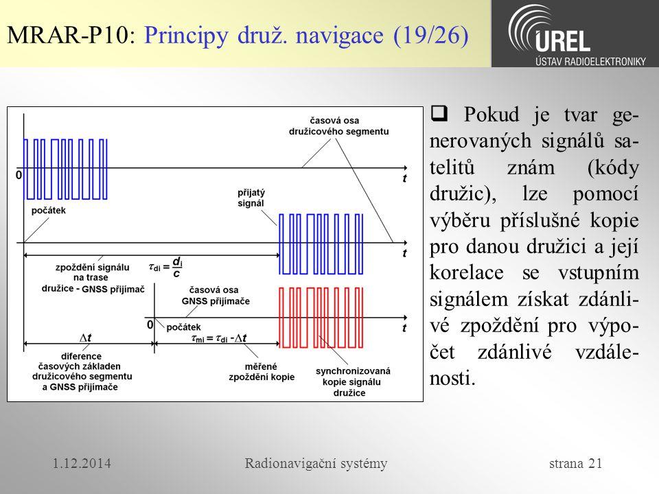 1.12.2014Radionavigační systémy strana 21 MRAR-P10: Principy druž. navigace (19/26)  Pokud je tvar ge- nerovaných signálů sa- telitů znám (kódy druži