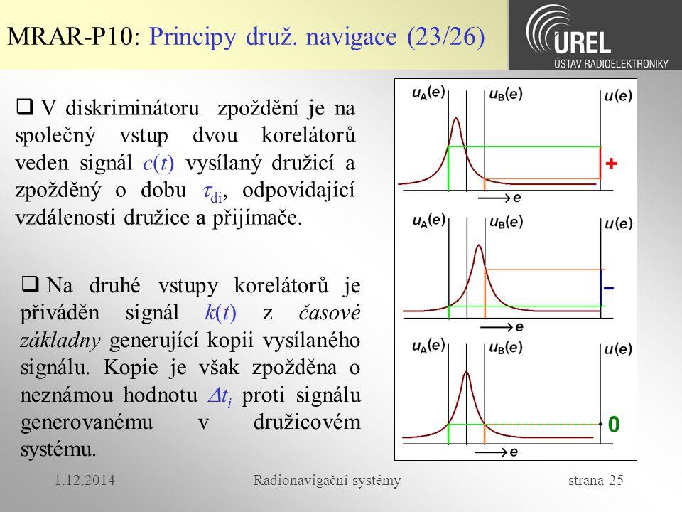 1.12.2014Radionavigační systémy strana 25 MRAR-P10: Principy druž. navigace (23/26)  V diskriminátoru zpoždění je na společný vstup dvou korelátorů v