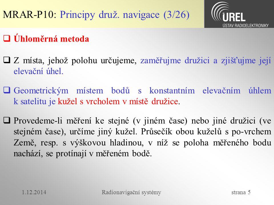 1.12.2014Radionavigační systémy strana 5 MRAR-P10: Principy druž. navigace (3/26)  Úhloměrná metoda  Z místa, jehož polohu určujeme, zaměřujme druži