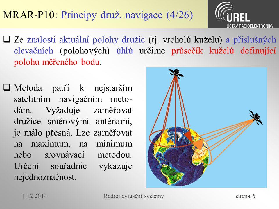 1.12.2014Radionavigační systémy strana 6 MRAR-P10: Principy druž.