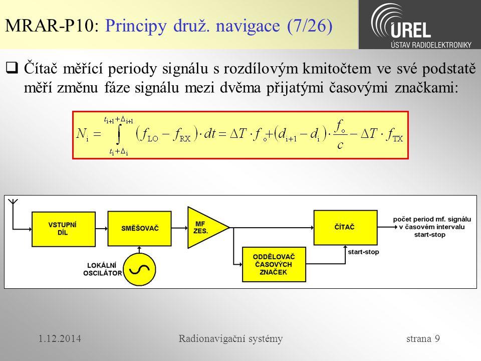 1.12.2014Radionavigační systémy strana 9 MRAR-P10: Principy druž. navigace (7/26)  Čítač měřící periody signálu s rozdílovým kmitočtem ve své podstat