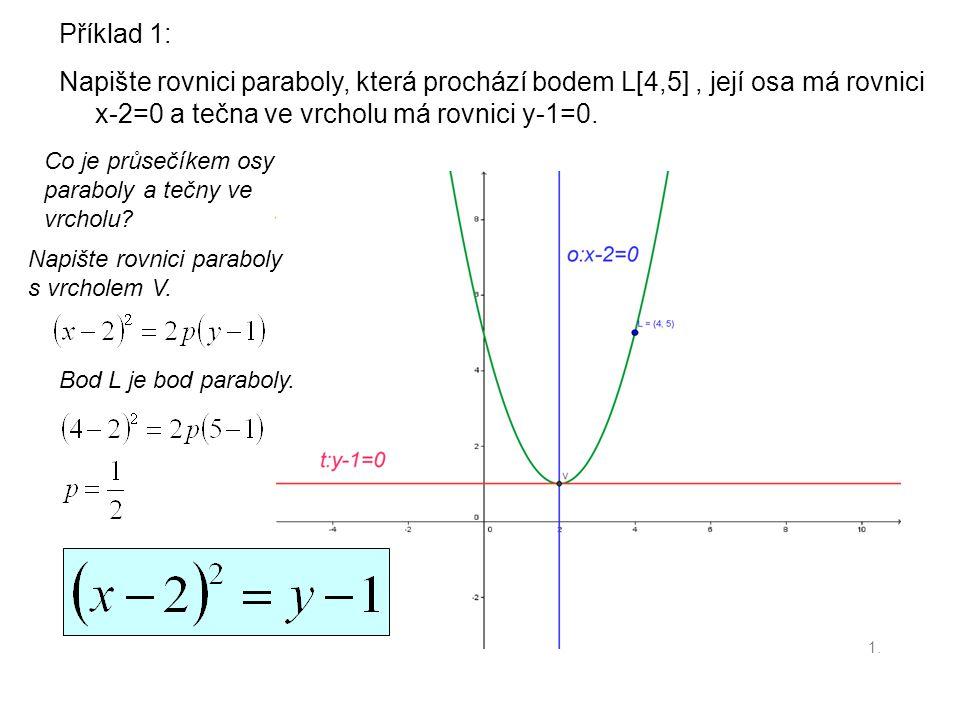Příklad 1: Napište rovnici paraboly, která prochází bodem L[4,5], její osa má rovnici x-2=0 a tečna ve vrcholu má rovnici y-1=0. Co je průsečíkem osy