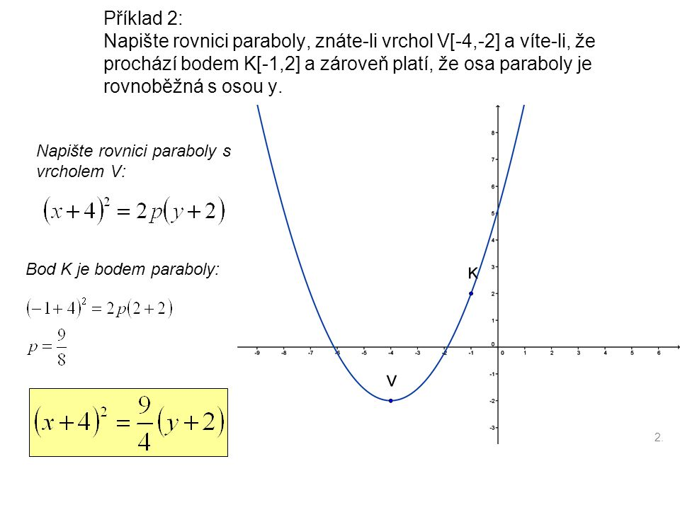 Příklad 2: Napište rovnici paraboly, znáte-li vrchol V[-4,-2] a víte-li, že prochází bodem K[-1,2] a zároveň platí, že osa paraboly je rovnoběžná s os