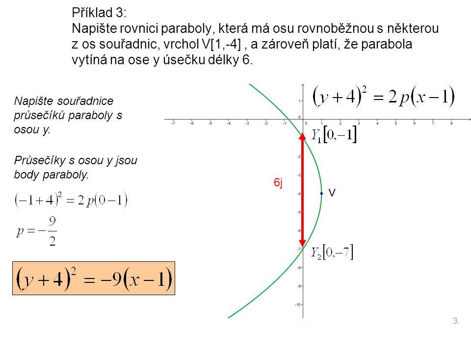 Příklad 3: Napište rovnici paraboly, která má osu rovnoběžnou s některou z os souřadnic, vrchol V[1,-4], a zároveň platí, že parabola vytíná na ose y