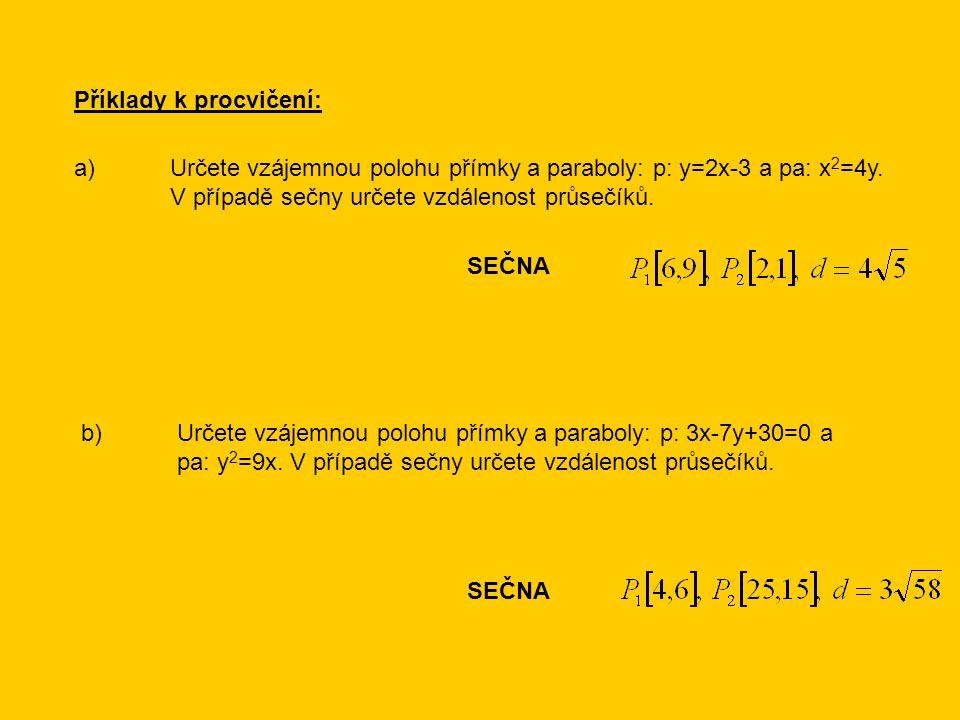 Příklady k procvičení: a)Určete vzájemnou polohu přímky a paraboly: p: y=2x-3 a pa: x 2 =4y. V případě sečny určete vzdálenost průsečíků. SEČNA b)Urče