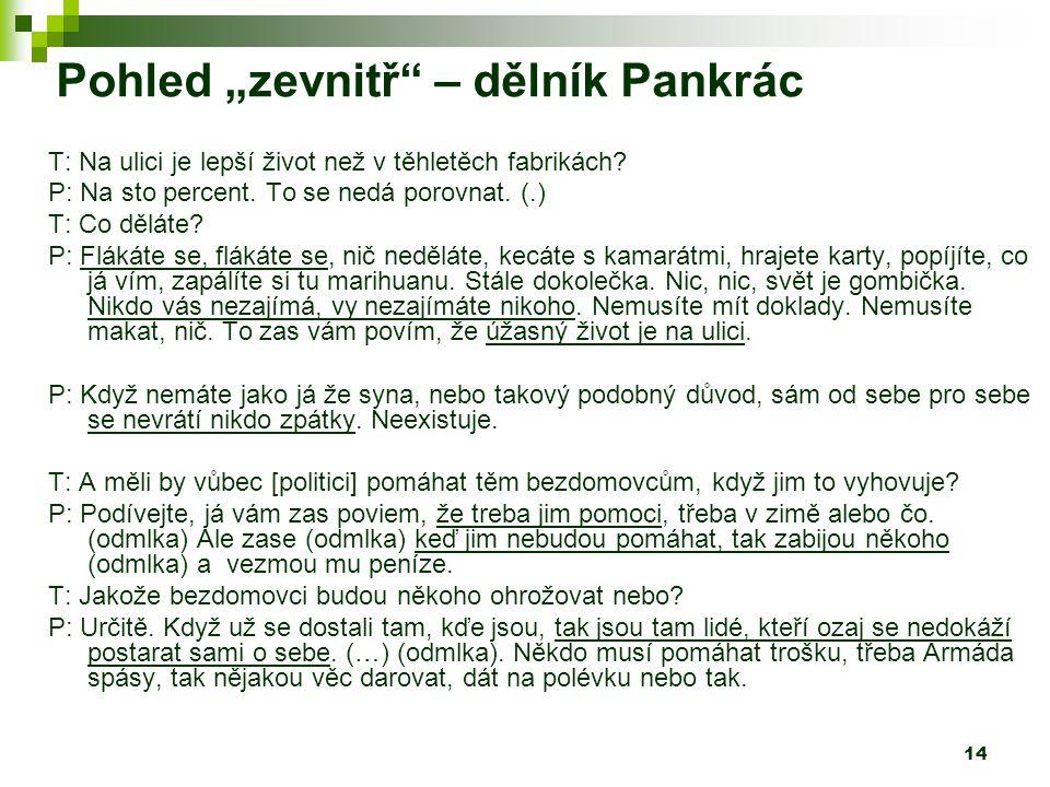 """14 Pohled """"zevnitř – dělník Pankrác T: Na ulici je lepší život než v těhletěch fabrikách."""