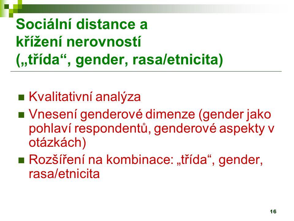 """16 Sociální distance a křížení nerovností (""""třída , gender, rasa/etnicita) Kvalitativní analýza Vnesení genderové dimenze (gender jako pohlaví respondentů, genderové aspekty v otázkách) Rozšíření na kombinace: """"třída , gender, rasa/etnicita"""