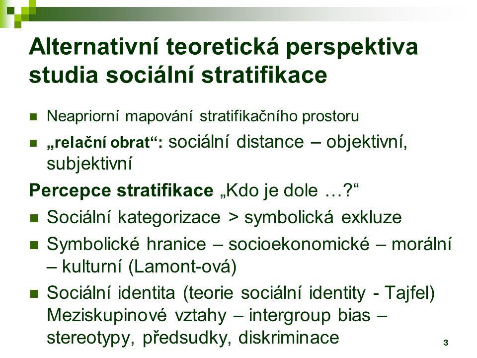 """3 Alternativní teoretická perspektiva studia sociální stratifikace Neapriorní mapování stratifikačního prostoru """"relační obrat : sociální distance – objektivní, subjektivní Percepce stratifikace """"Kdo je dole … Sociální kategorizace > symbolická exkluze Symbolické hranice – socioekonomické – morální – kulturní (Lamont-ová) Sociální identita (teorie sociální identity - Tajfel) Meziskupinové vztahy – intergroup bias – stereotypy, předsudky, diskriminace"""