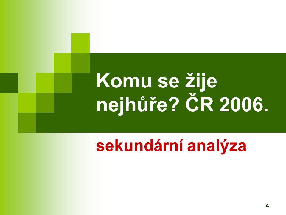 4 Komu se žije nejhůře ČR 2006. sekundární analýza