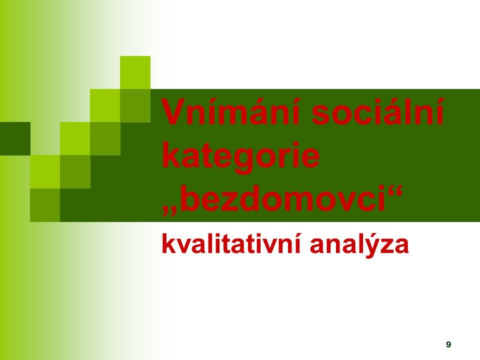 10 Kvalitativní výzkum - rozhovory Hlavní téma – vnímání sociální struktury Polostrukturované rozhovory 30 lidí středního věku v různých sociálních pozicích z Prahy a Liberce Záměrný výběr - profese a dosažené vzdělání