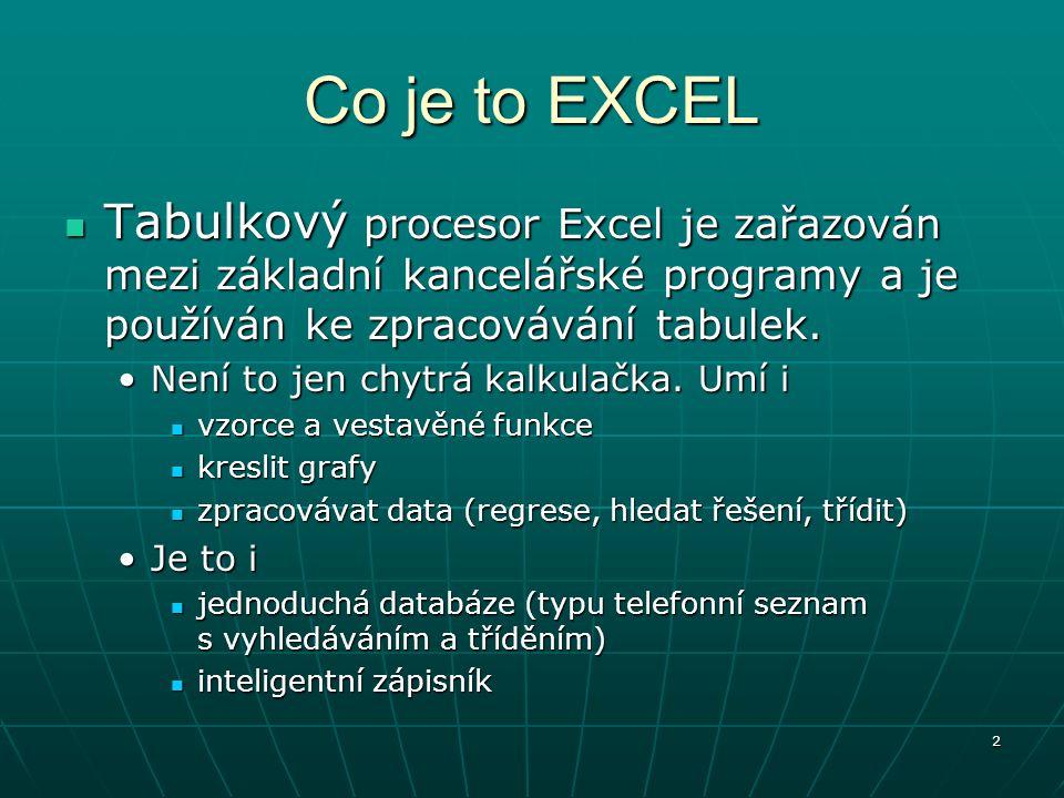 2 Co je to EXCEL Tabulkový procesor Excel je zařazován mezi základní kancelářské programy a je používán ke zpracovávání tabulek. Tabulkový procesor Ex