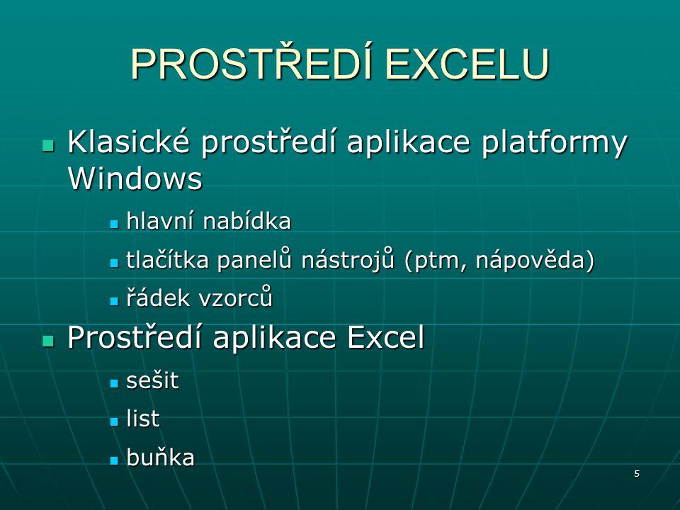 5 PROSTŘEDÍ EXCELU Klasické prostředí aplikace platformy Windows Klasické prostředí aplikace platformy Windows hlavní nabídka hlavní nabídka tlačítka panelů nástrojů (ptm, nápověda) tlačítka panelů nástrojů (ptm, nápověda) řádek vzorců řádek vzorců Prostředí aplikace Excel Prostředí aplikace Excel sešit sešit list list buňka buňka