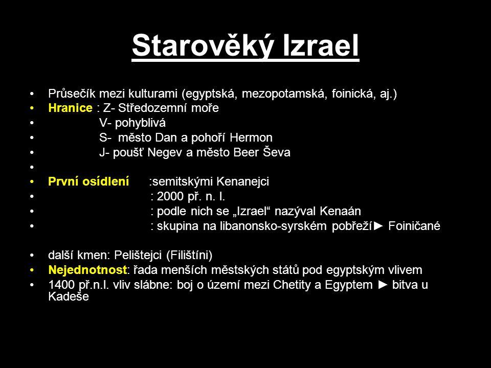 Starověký Izrael Průsečík mezi kulturami (egyptská, mezopotamská, foinická, aj.) Hranice : Z- Středozemní moře V- pohyblivá S- město Dan a pohoří Herm