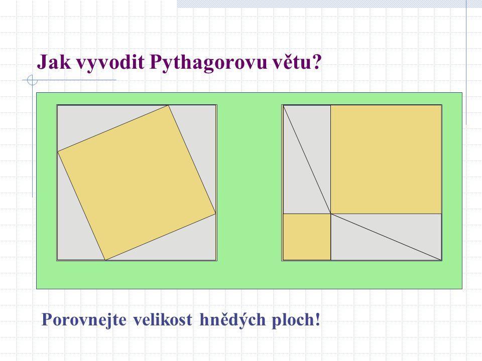 Jak vyvodit Pythagorovu větu? Porovnejte velikost hnědých ploch!