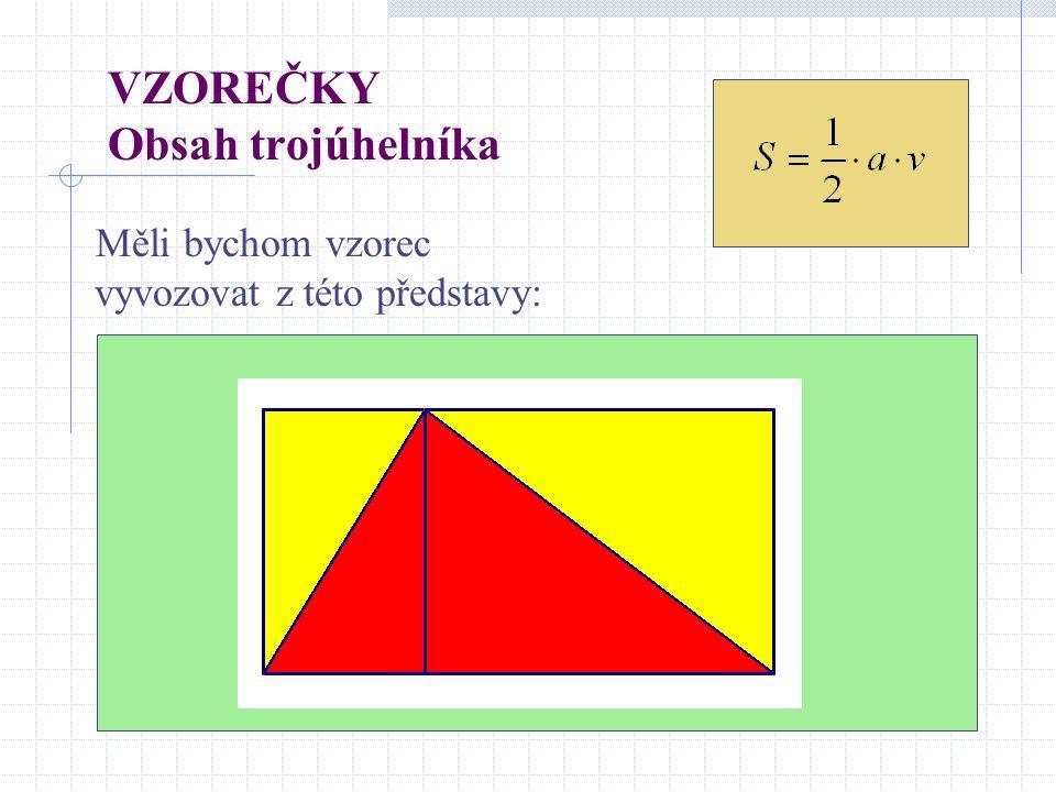 VZOREČKY Obsah trojúhelníka Měli bychom vzorec vyvozovat z této představy: