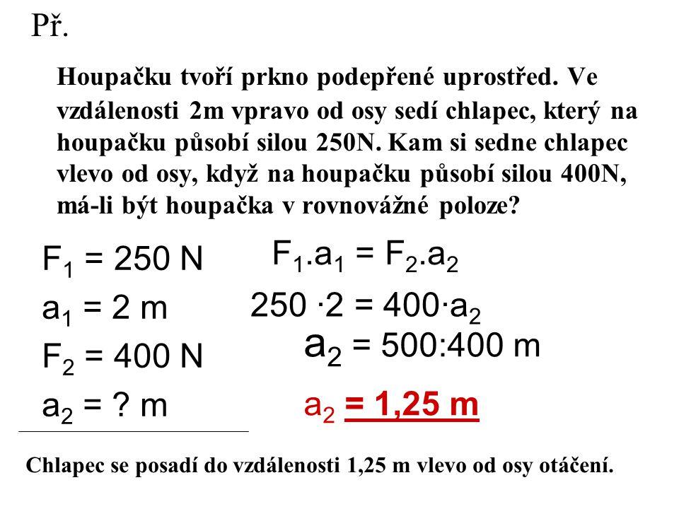 Užití páky Páka rovnoramenná (ramena stejně dlouhá) rovnoramenné váhy nerovnoramenná