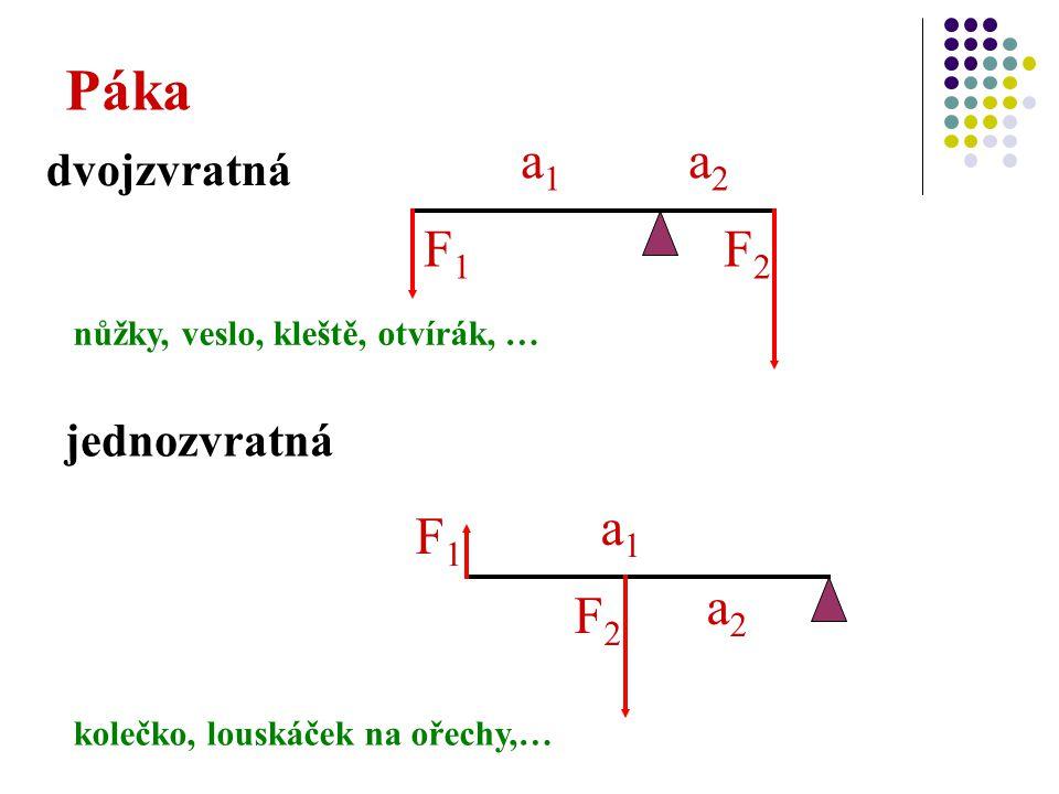 jednozvratná Páka dvojzvratná a1a1 a2a2 F1F1 F2F2 a1a1 a2a2 F1F1 F2F2 nůžky, veslo, kleště, otvírák, … kolečko, louskáček na ořechy,…