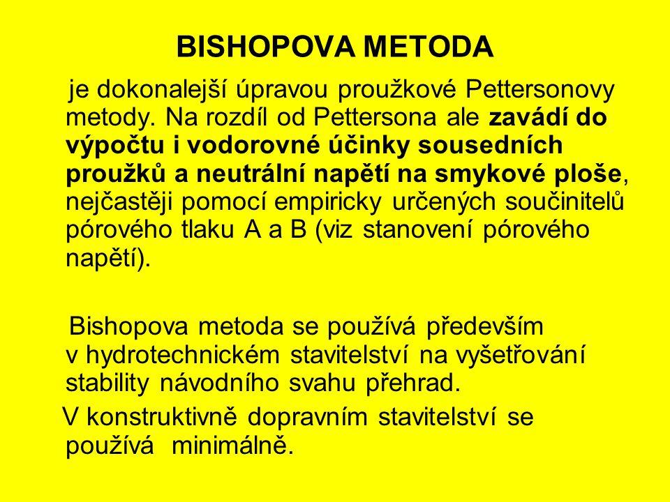 BISHOPOVA METODA je dokonalejší úpravou proužkové Pettersonovy metody. Na rozdíl od Pettersona ale zavádí do výpočtu i vodorovné účinky sousedních pro