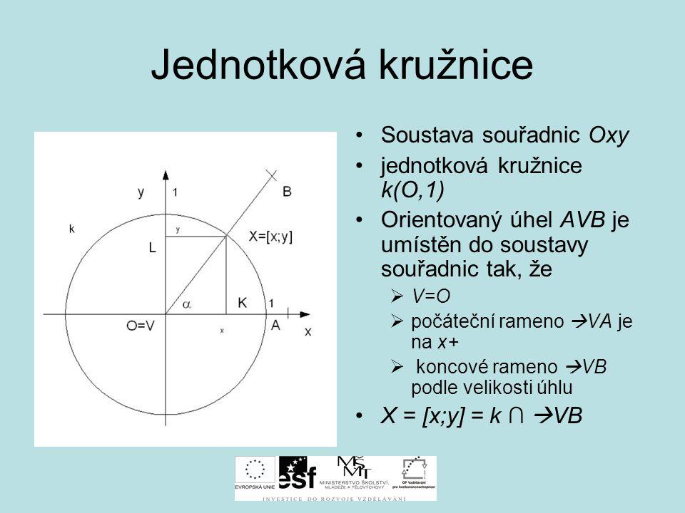 Jednotková kružnice Soustava souřadnic Oxy jednotková kružnice k(O,1) Orientovaný úhel AVB je umístěn do soustavy souřadnic tak, že  V=O  počáteční rameno  VA je na x+  koncové rameno  VB podle velikosti úhlu X = [x;y] = k ∩  VB