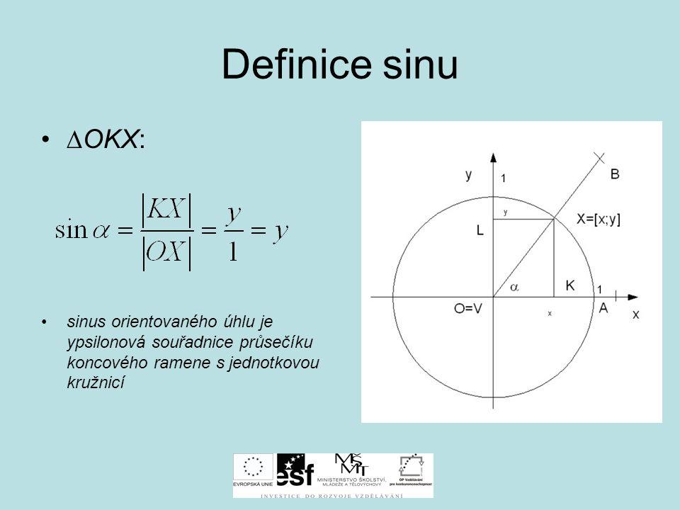 Definice kosinu ∆OKX: kosinus orientovaného úhlu je iksová souřadnice průsečíku koncového ramene s jednotkovou kružnicí