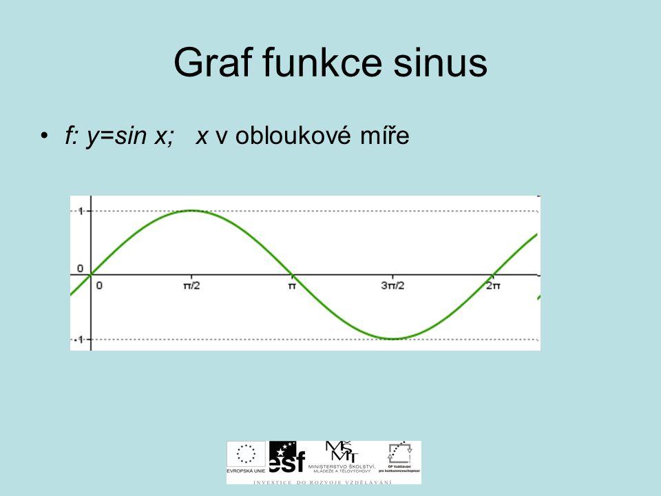 Graf funkce sinus f: y=sin x; x v obloukové míře