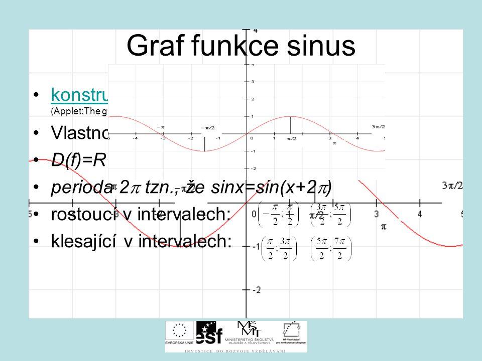 Graf funkce sinus konstrukce grafu funkce sinus (Applet:The graphs of sin, cos and tan)konstrukce grafu Vlastnosti funkce f: y=sin x D(f)=R H(f)= perioda 2  tzn., že sinx=sin(x+2  ) rostoucí v intervalech: klesající v intervalech: