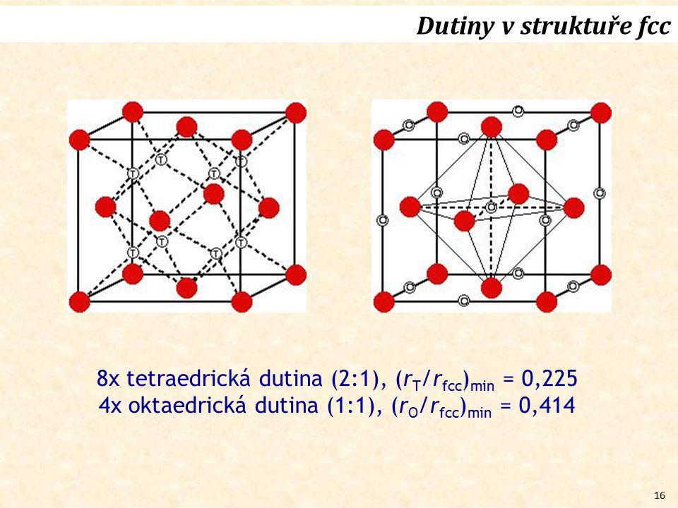 16 Dutiny v struktuře fcc 8x tetraedrická dutina (2:1), (r T /r fcc ) min = 0,225 4x oktaedrická dutina (1:1), (r O /r fcc ) min = 0,414