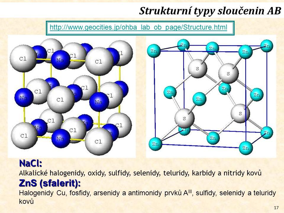 17 Strukturní typy sloučenin AB http://www.geocities.jp/ohba_lab_ob_page/Structure.htmlNaCl: Alkalické halogenidy, oxidy, sulfidy, selenidy, teluridy,