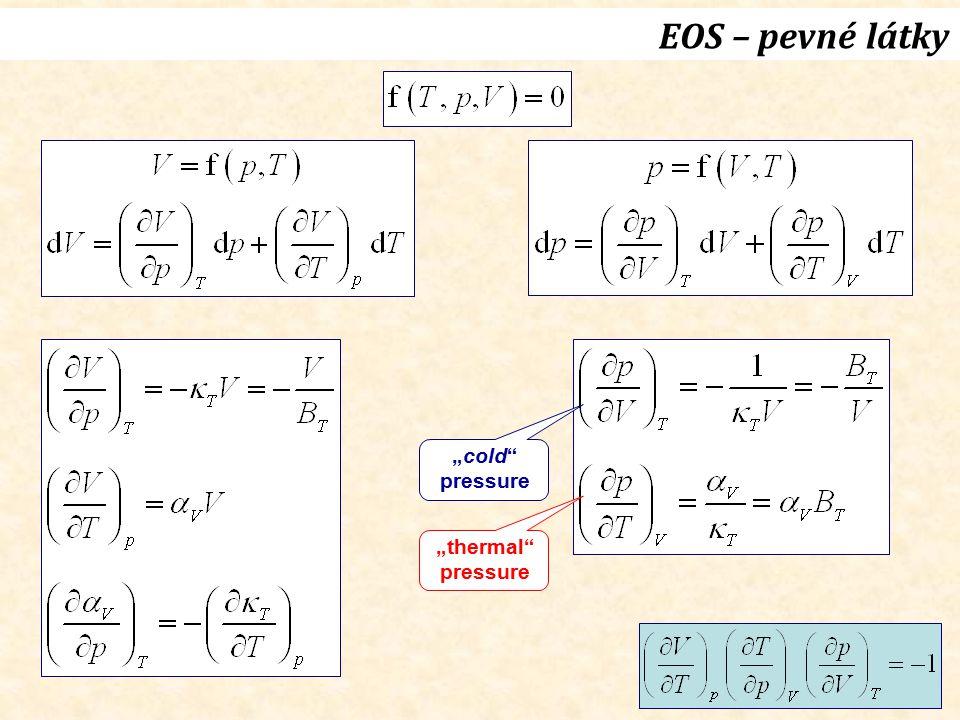 """24 EOS – pevné látky """"cold"""" pressure """"thermal"""" pressure"""