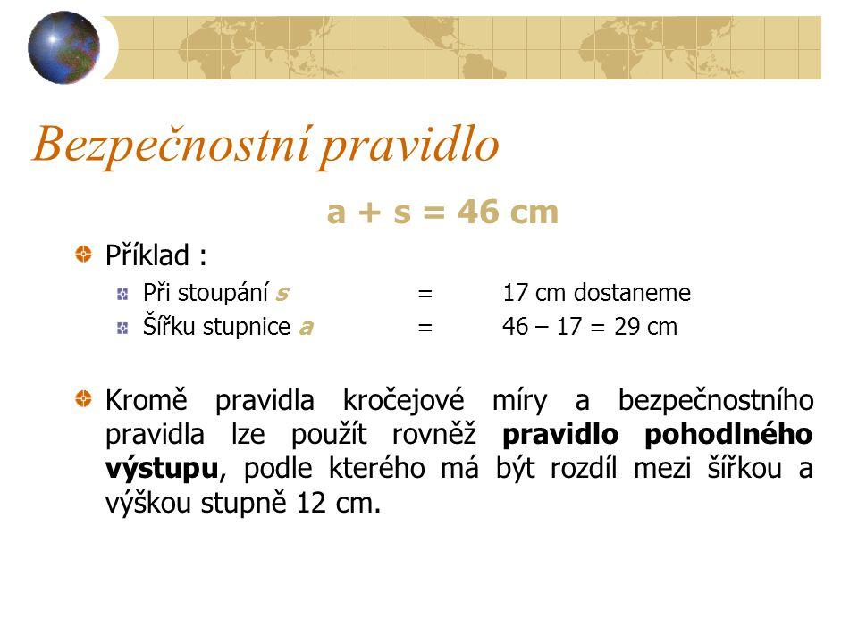 Pravidlo kročejové míry Pravidlo kročejové míry a + 2s = 59 až 65 cm Příklad : Při výšce stupně s= 17 cm dostaneme Šířku stupnice a= 59 až 65 cm – 2 x