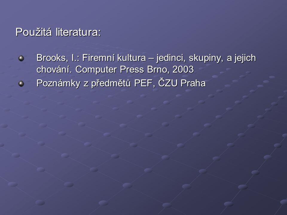 Použitá literatura: Brooks, I.: Firemní kultura – jedinci, skupiny, a jejich chování. Computer Press Brno, 2003 Poznámky z předmětů PEF, ČZU Praha