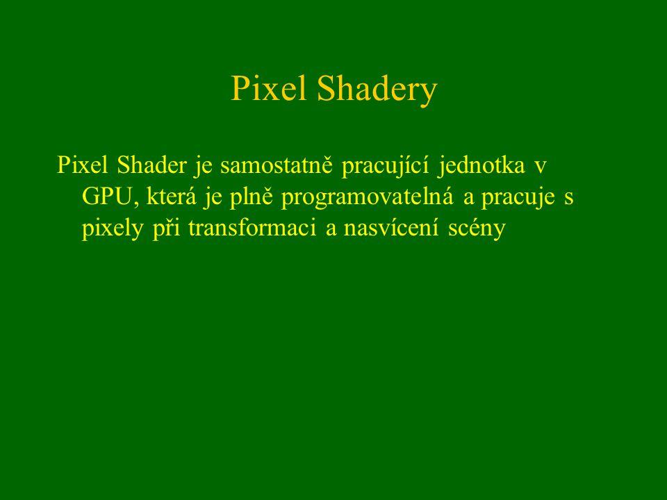 Pixel Shadery Pixel Shader je samostatně pracující jednotka v GPU, která je plně programovatelná a pracuje s pixely při transformaci a nasvícení scény